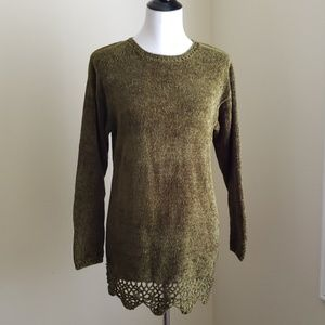 Chenille army green sweater